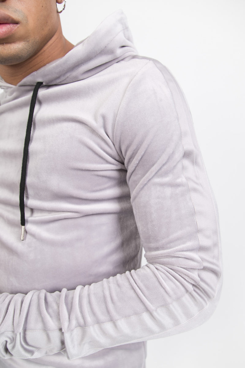 Sweat capuche velours gris