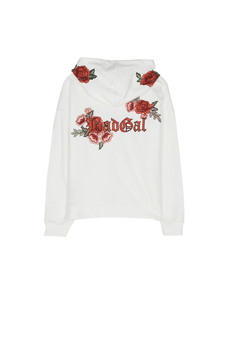 Sweat capuche Bad Gal broderie roses Sixth June blanc (Default)