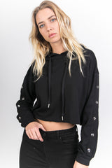 Sweat crop top boutons noir