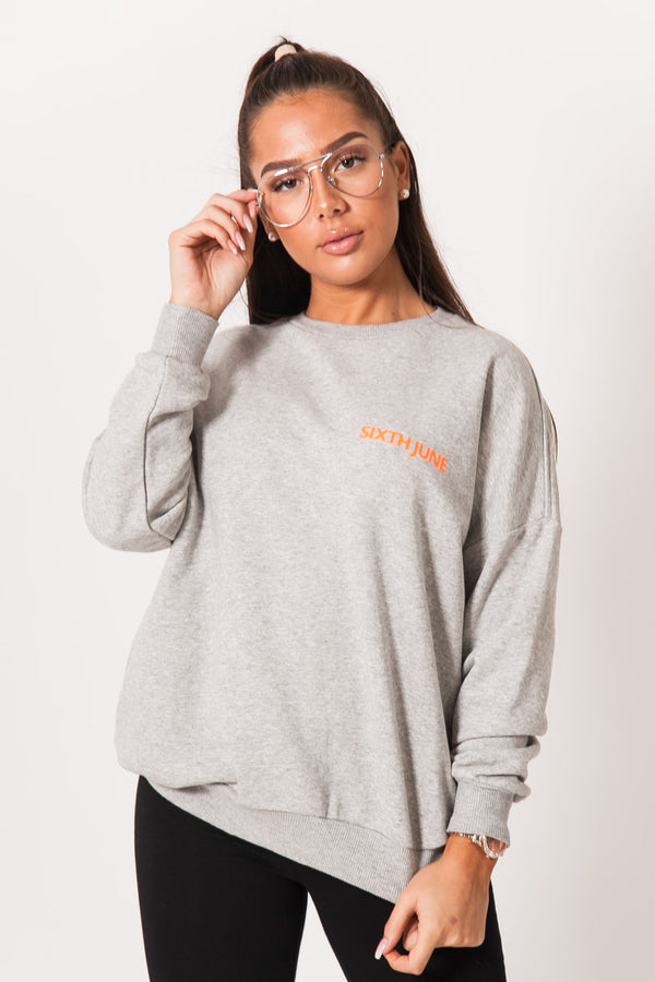 Sweat imprimé orange oversize gris
