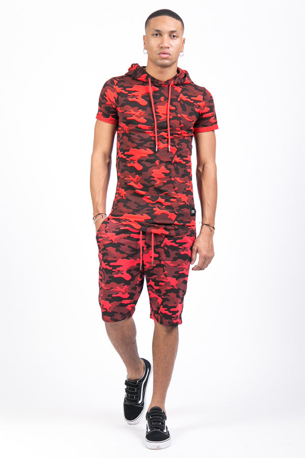 Short camouflage sport rouge