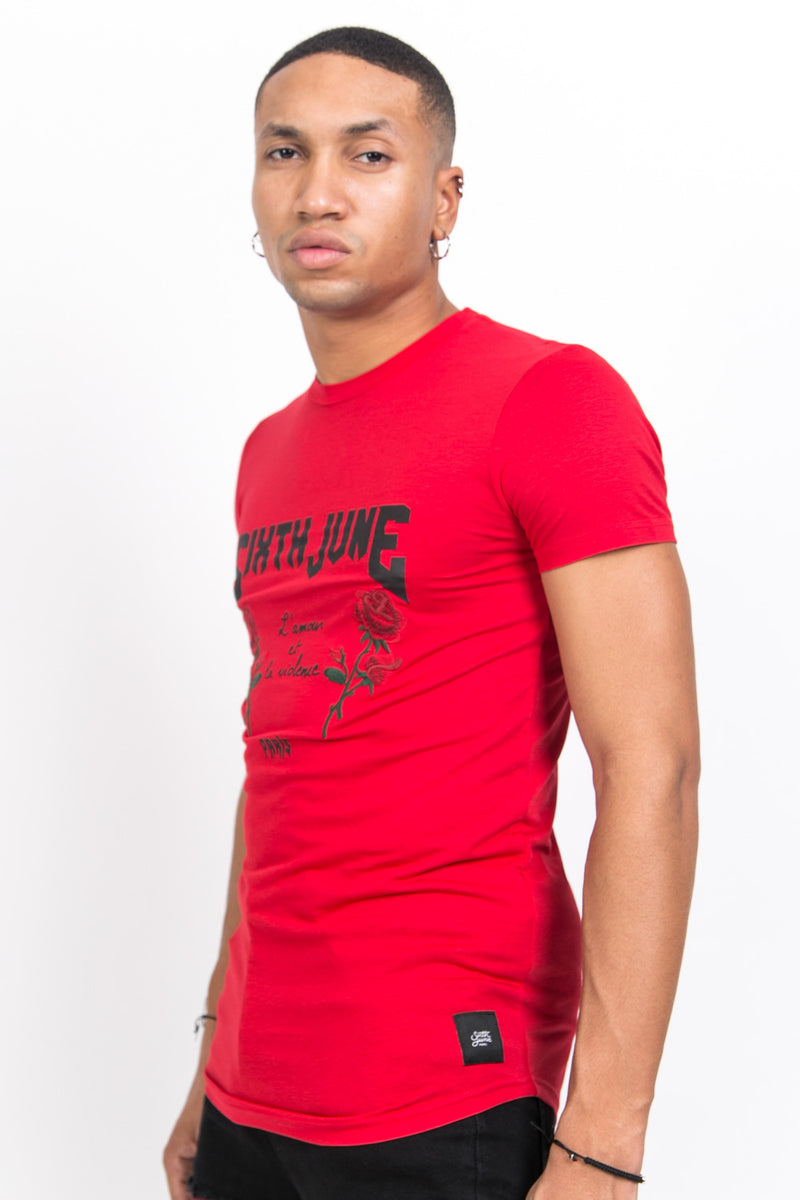 T-shirt amour violence rouge