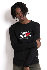 T-shirt grand logo patch rose manches longues noir