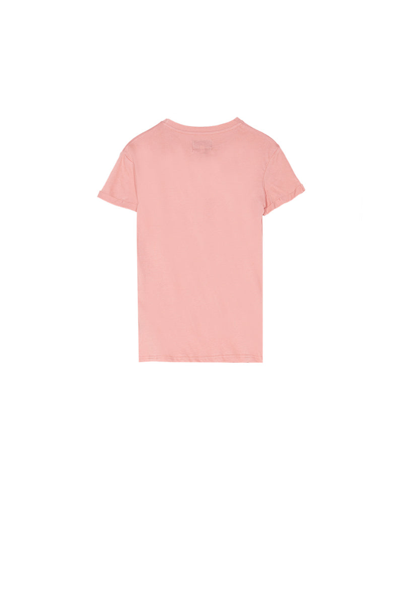 T-shirt brodé logo rose