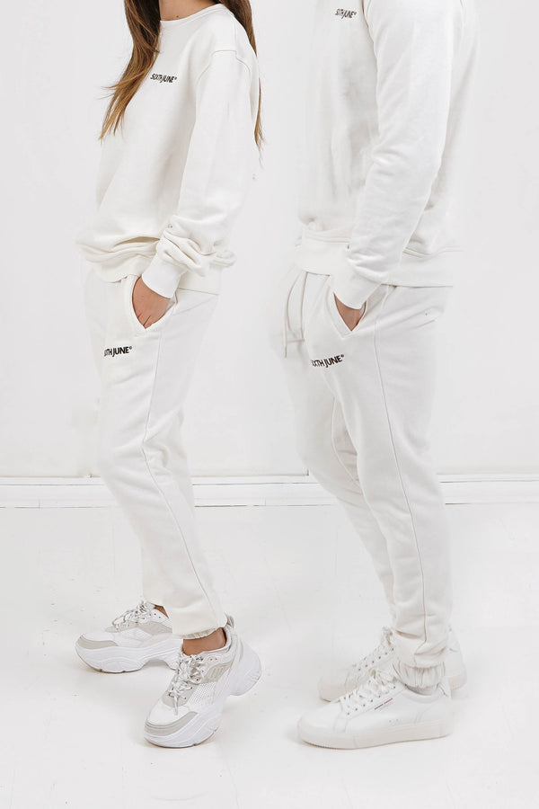 Soft embroidered logo joggers white