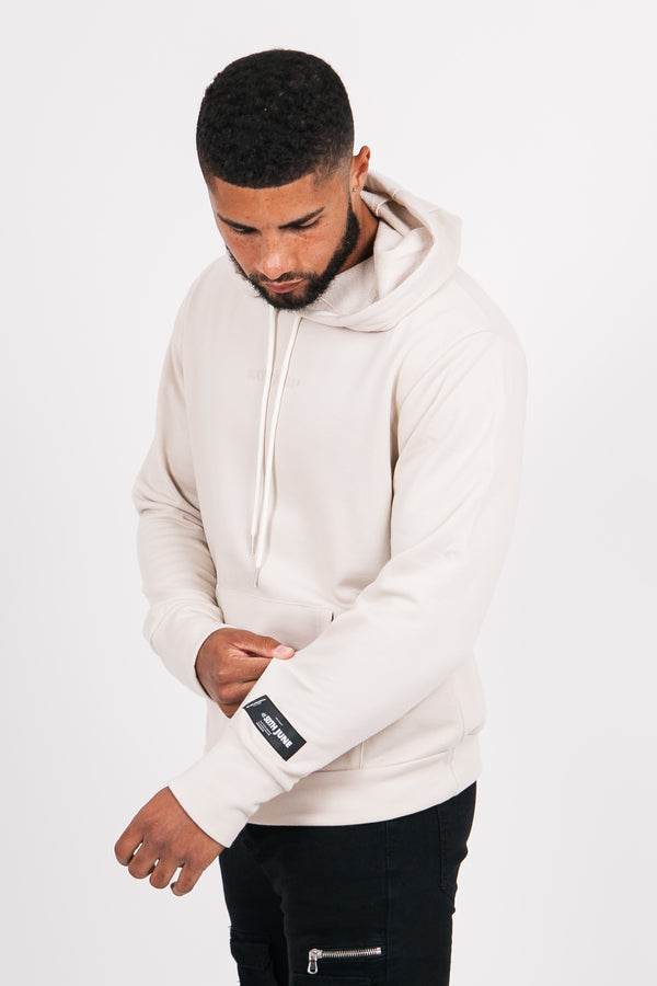 Sweat à capuche basique logo beige