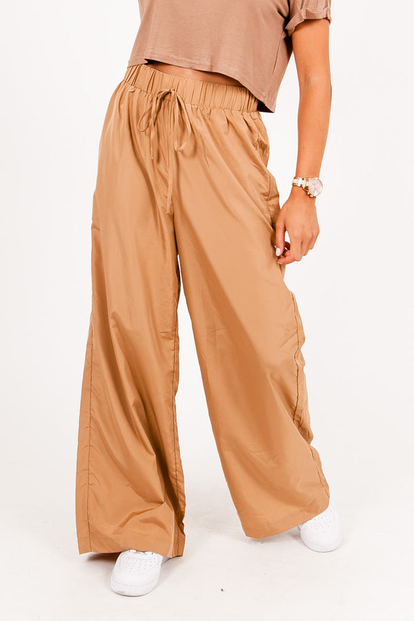 Pantalon large leger camel