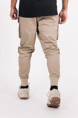Tactical pockets cargo pants dark beige