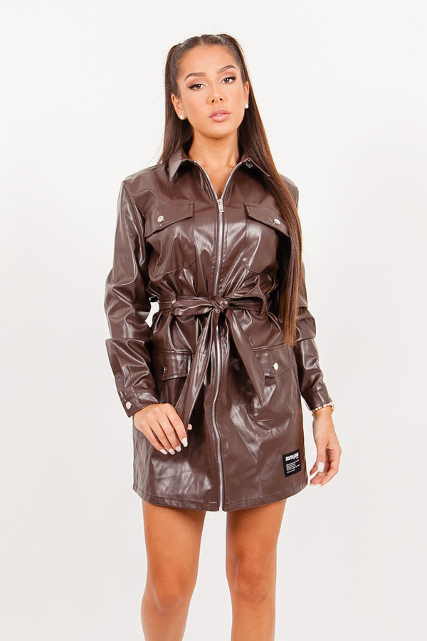 Cargo faux leather dress brown