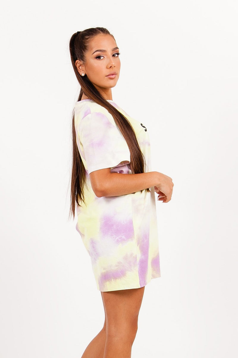 Robe t-shirt tie and dye jaune