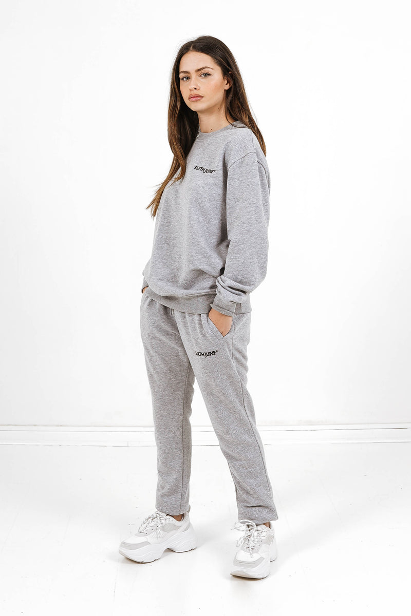 Jogging soft logo brodé gris clair