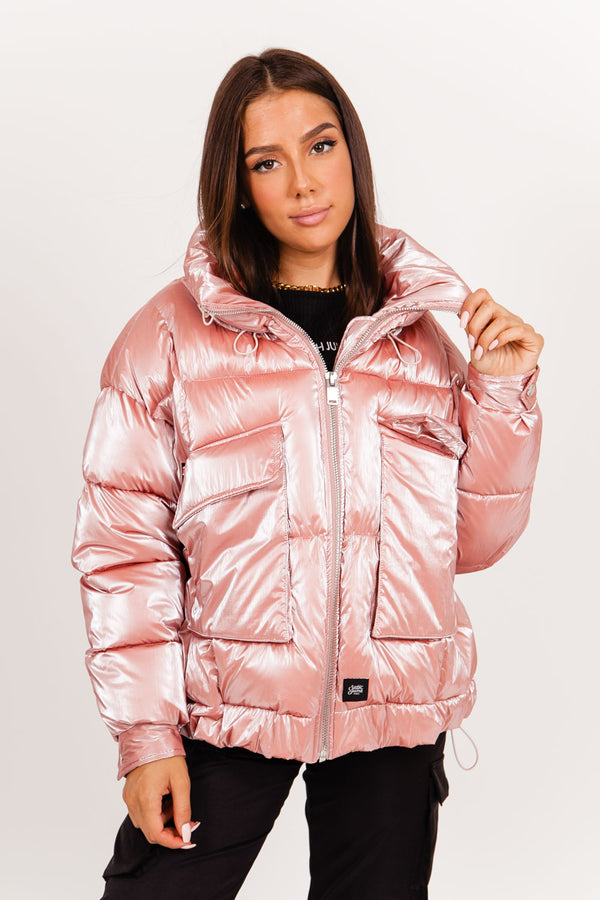 Oversize down jacket pearly pink
