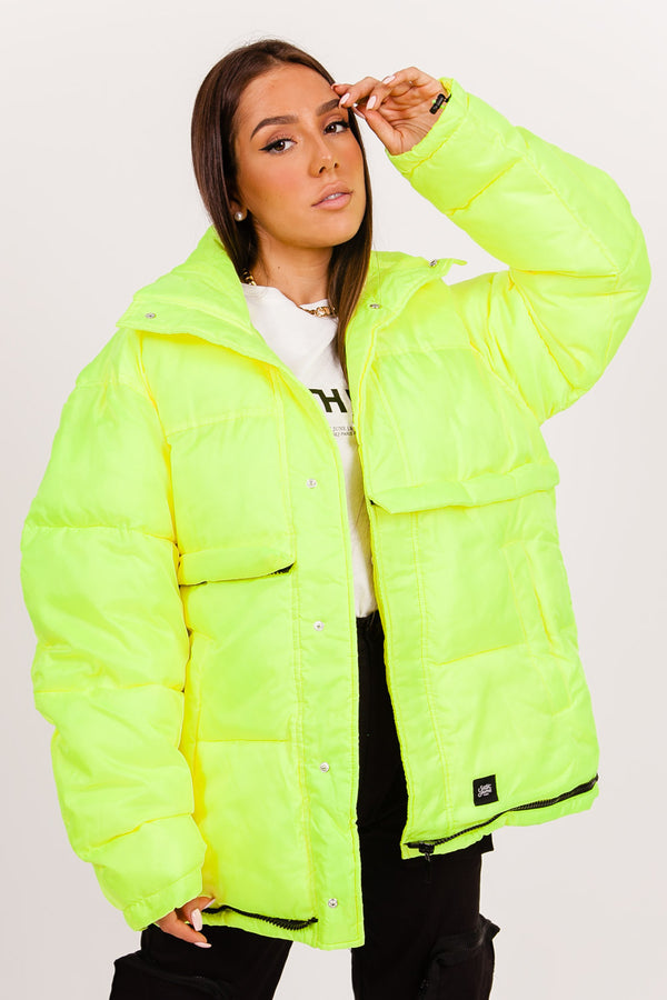 Fluo oversized down jacket yellow