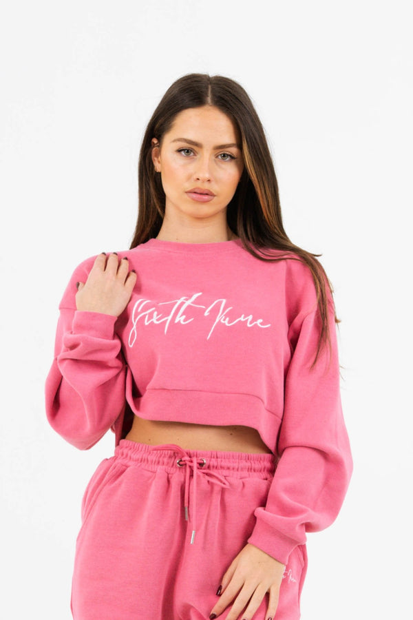 Signature Sweatshirt molletonné rose