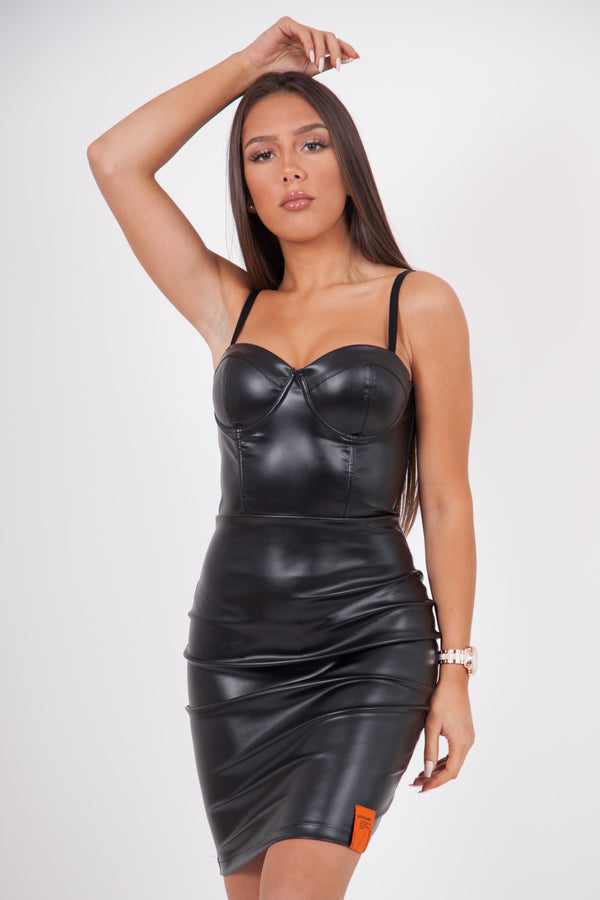 Faux leather dress black