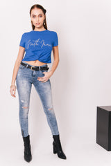Crop-top noeud logo bleu