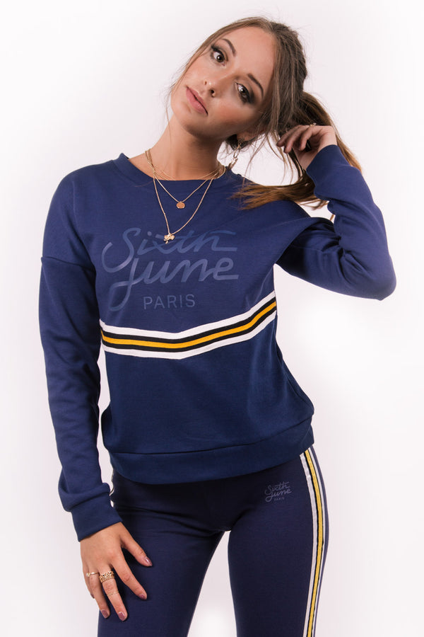 Sweat bicolore bande V bleu