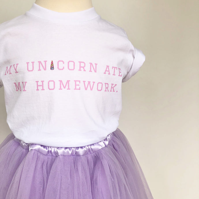 'My Unicorn Ate My Homework' Lux T-shirt