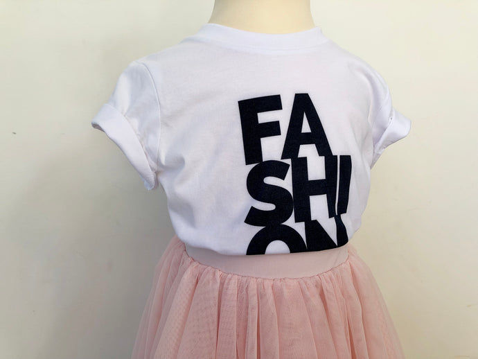 For Fashion Sake Girls slogan t-shirt
