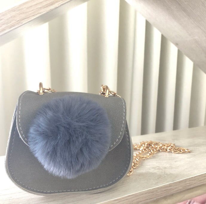 'You're the Pom' Crossbody Bag - Grey Cloud