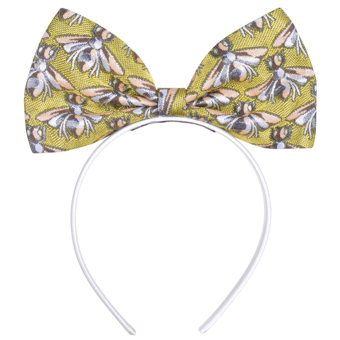 Hucklebones Bee Jacquard Giant Bow Hairband