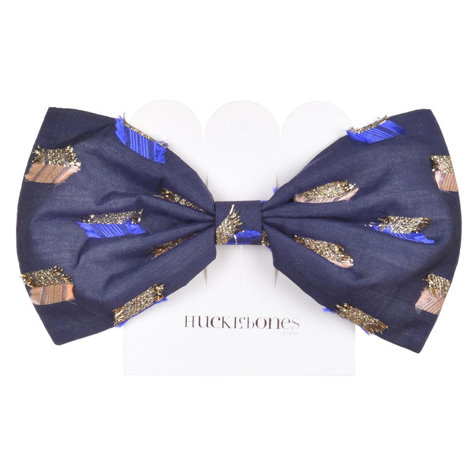 Hucklebones Giant Bow Hairclip in Ticking Stripe