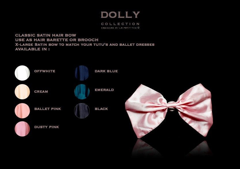 Dolly by Le Petit Tom Classic Satin Hairbow Cream