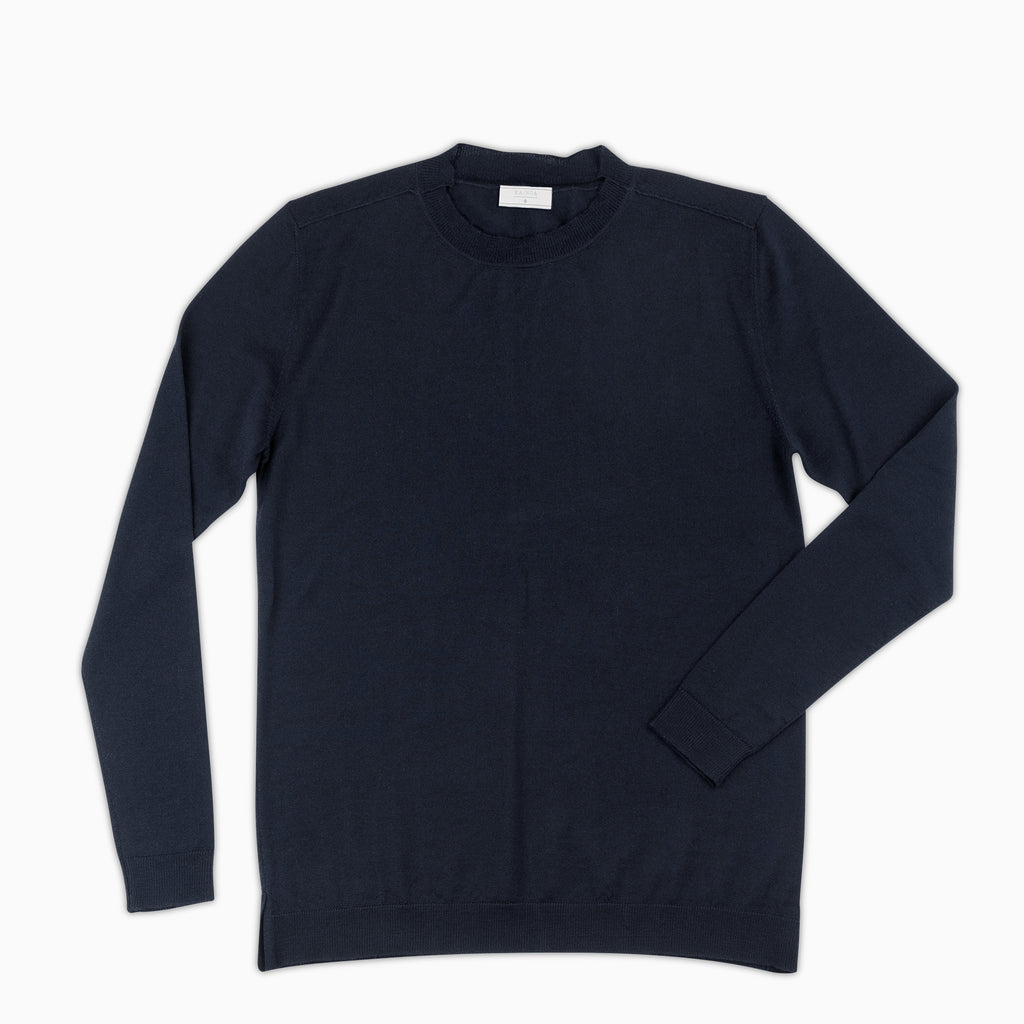 Abel crew-neck jumper Extrafine Wool (Dark blue)