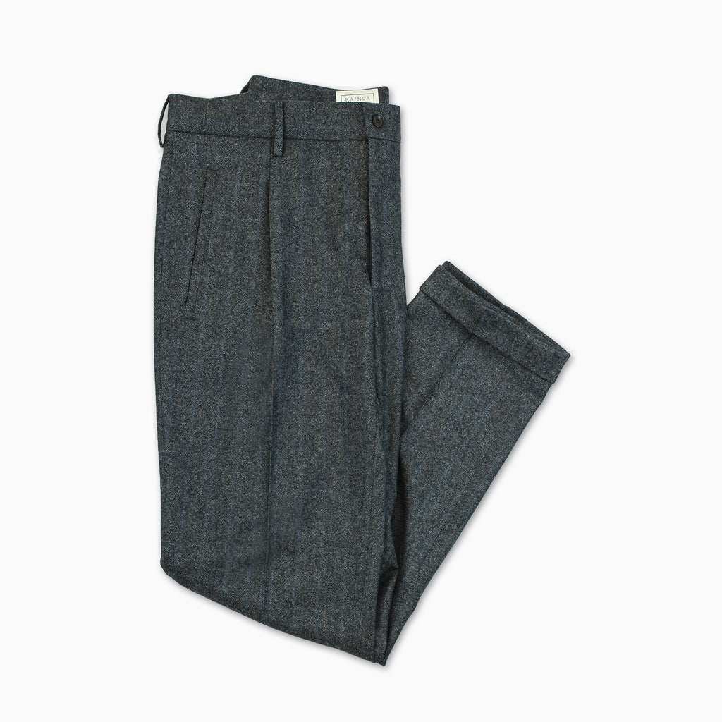 Alain Pleated Chino Pants Wool Flannel (Herringbone Pinstripe)