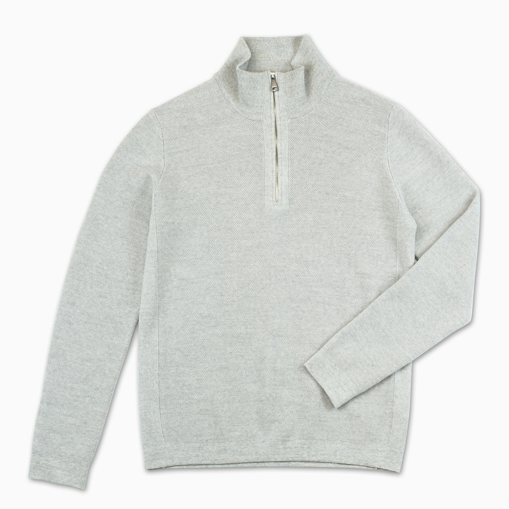 Alexis half-zip polo neck Extrafine Wool (Cool grey Melange)