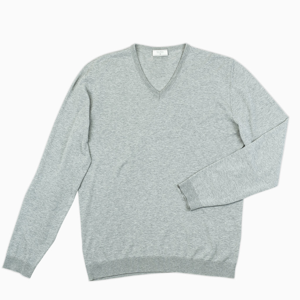 Andre V-neck jumper compact cotton (stone grey melange)
