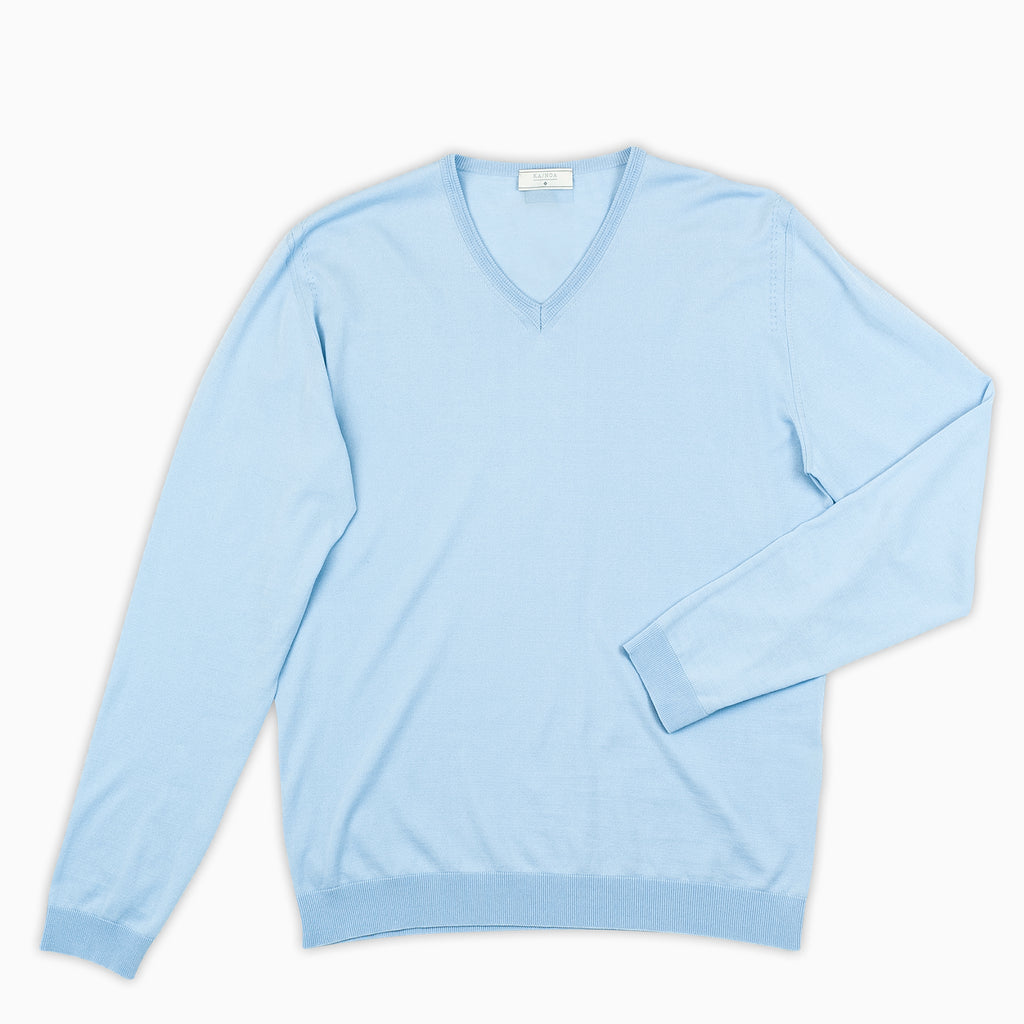 Andre V-neck jumper compact cotton (ice blue)
