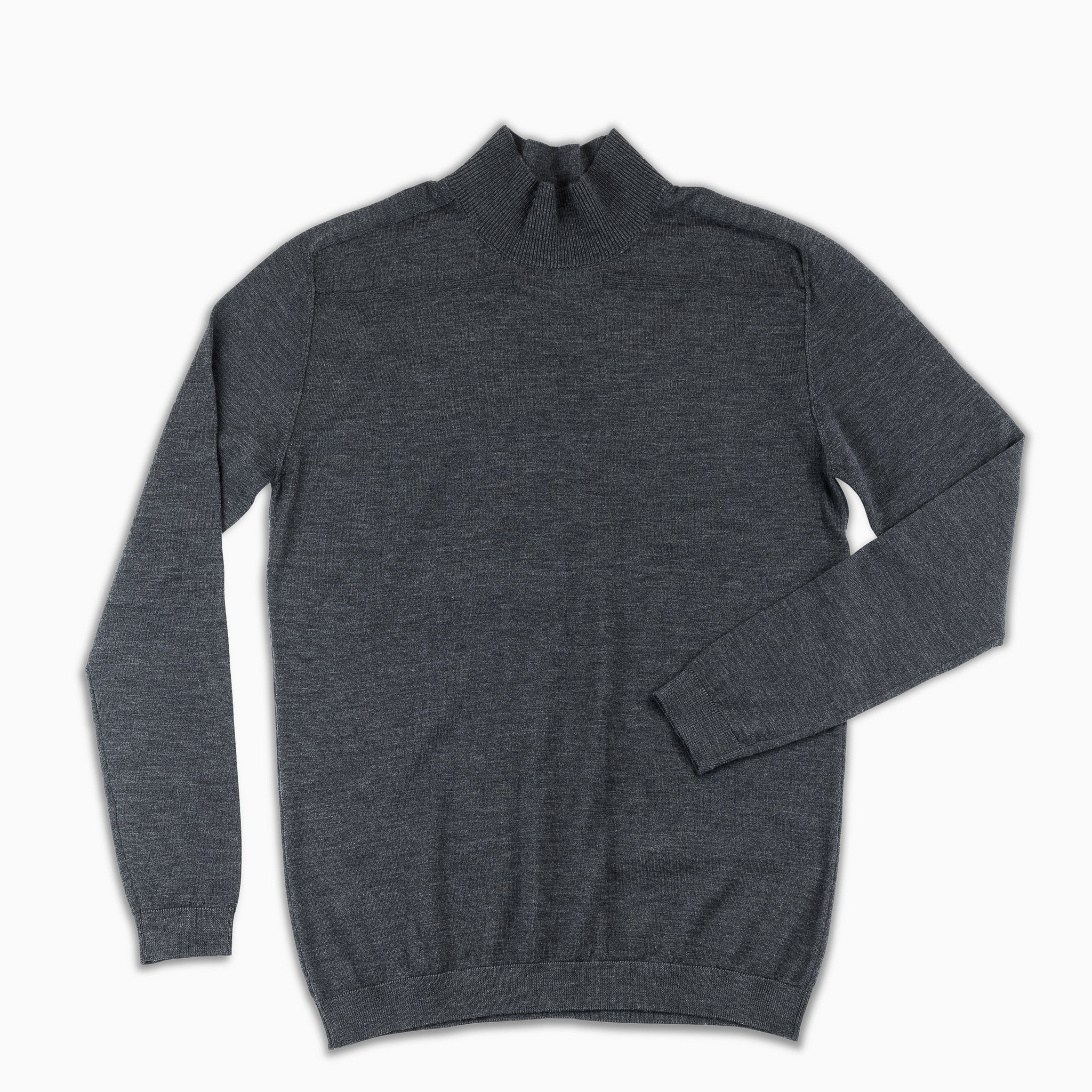 Aristide cycling collar jumper Extrafine Wool (Dark Grey Melange)