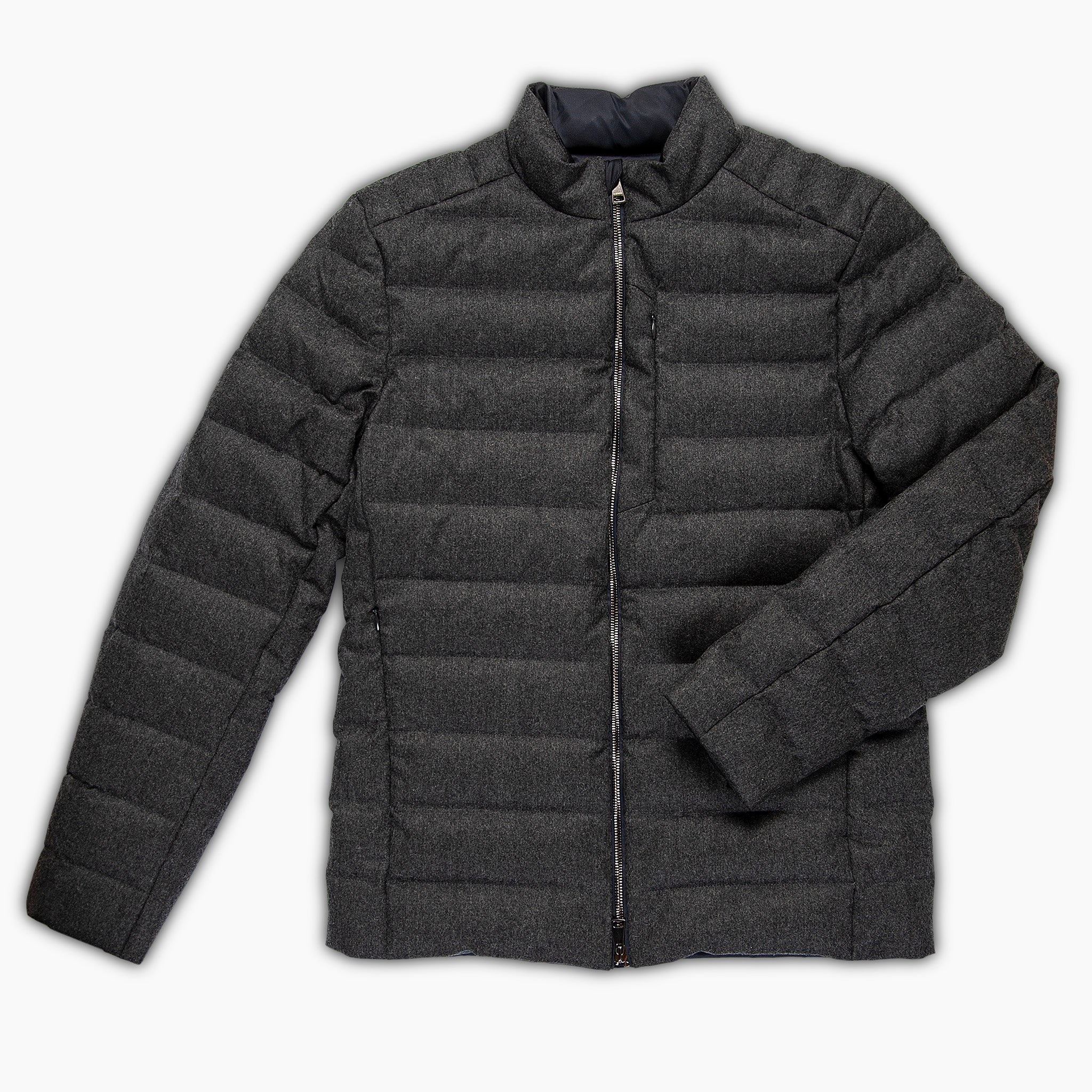 Agapet quilted wool down jacket (dark grey melange)