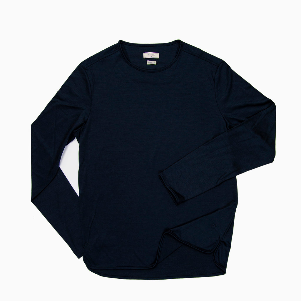 Alaric t-shirt Long Sleeves Merino Wool (Dark Blue)