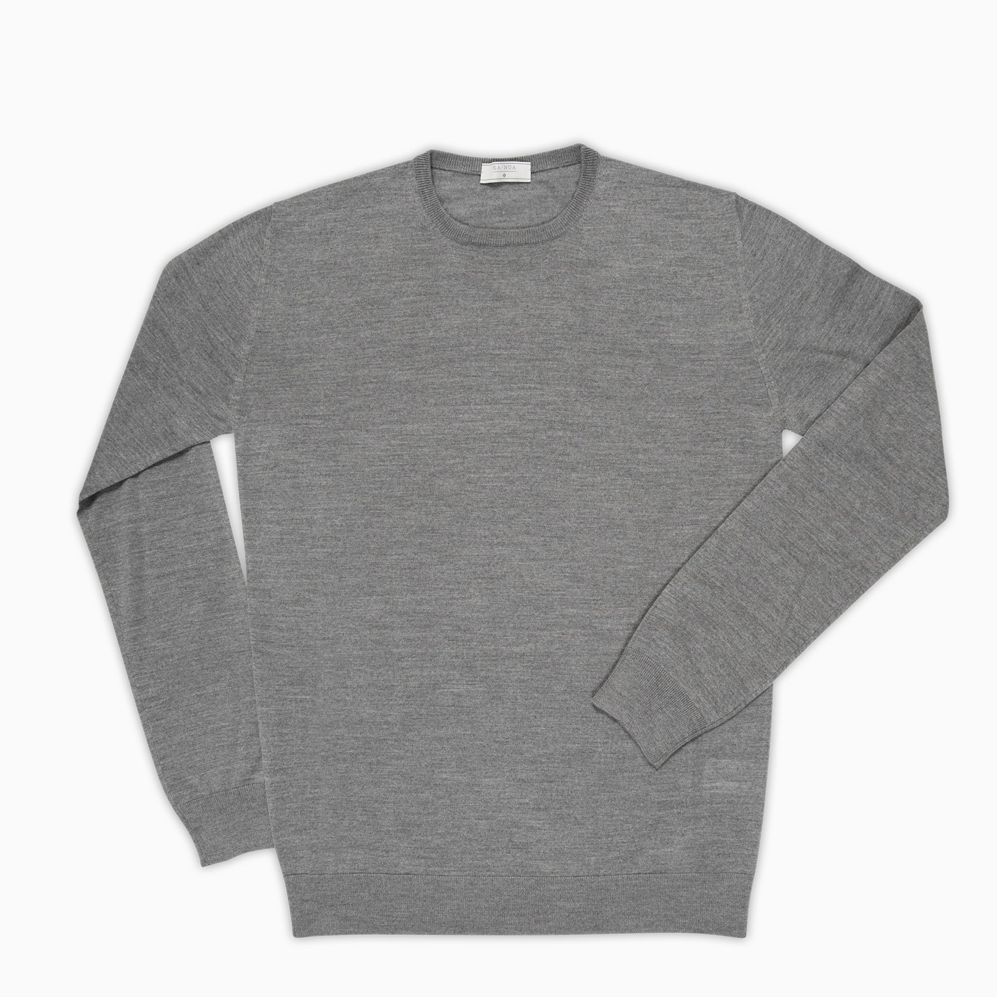 Anaclet crew-neck jumper merino wool (Urban Grey Melange)
