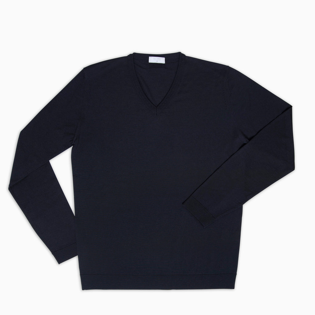 Andre V-Neck Jumper Superfine Merino Wool (Dark Blue)