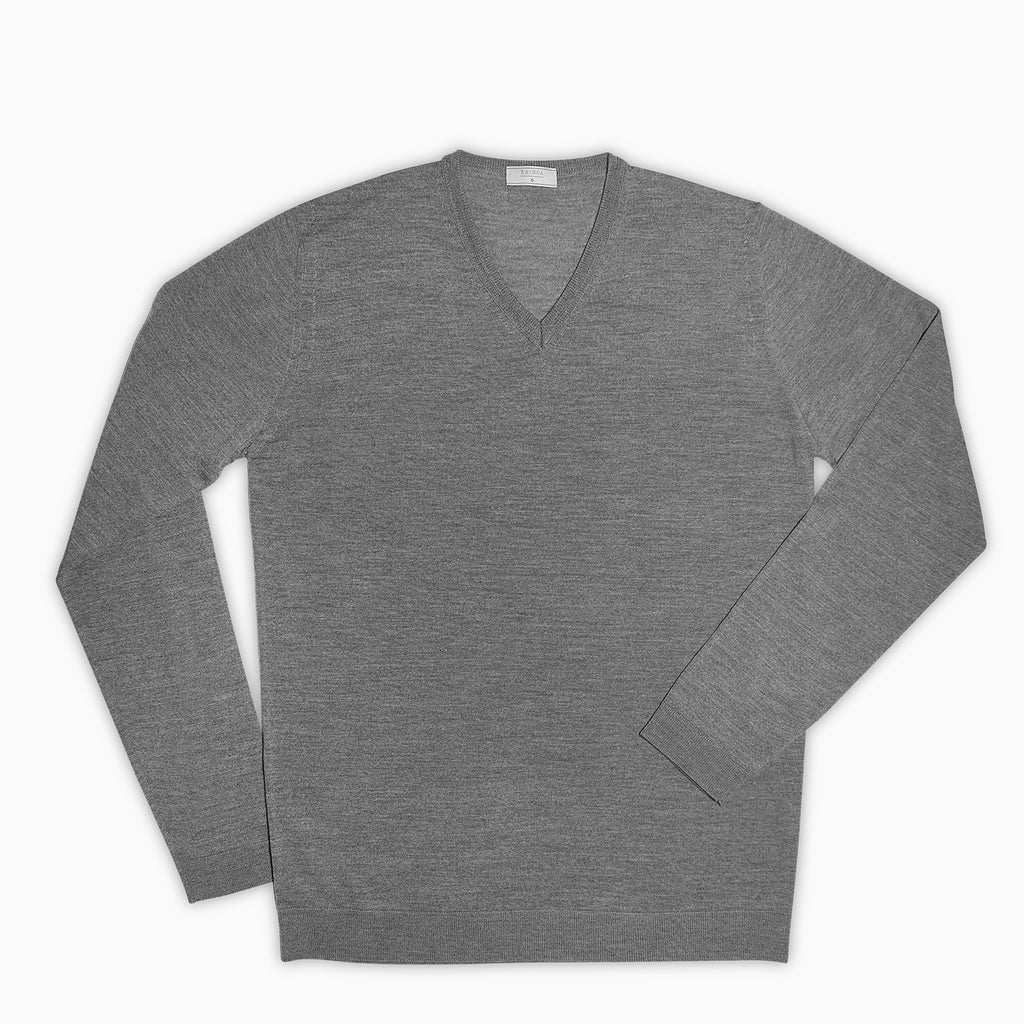 Andre V-Neck Jumper Superfine Merino Wool (Grey Melange)