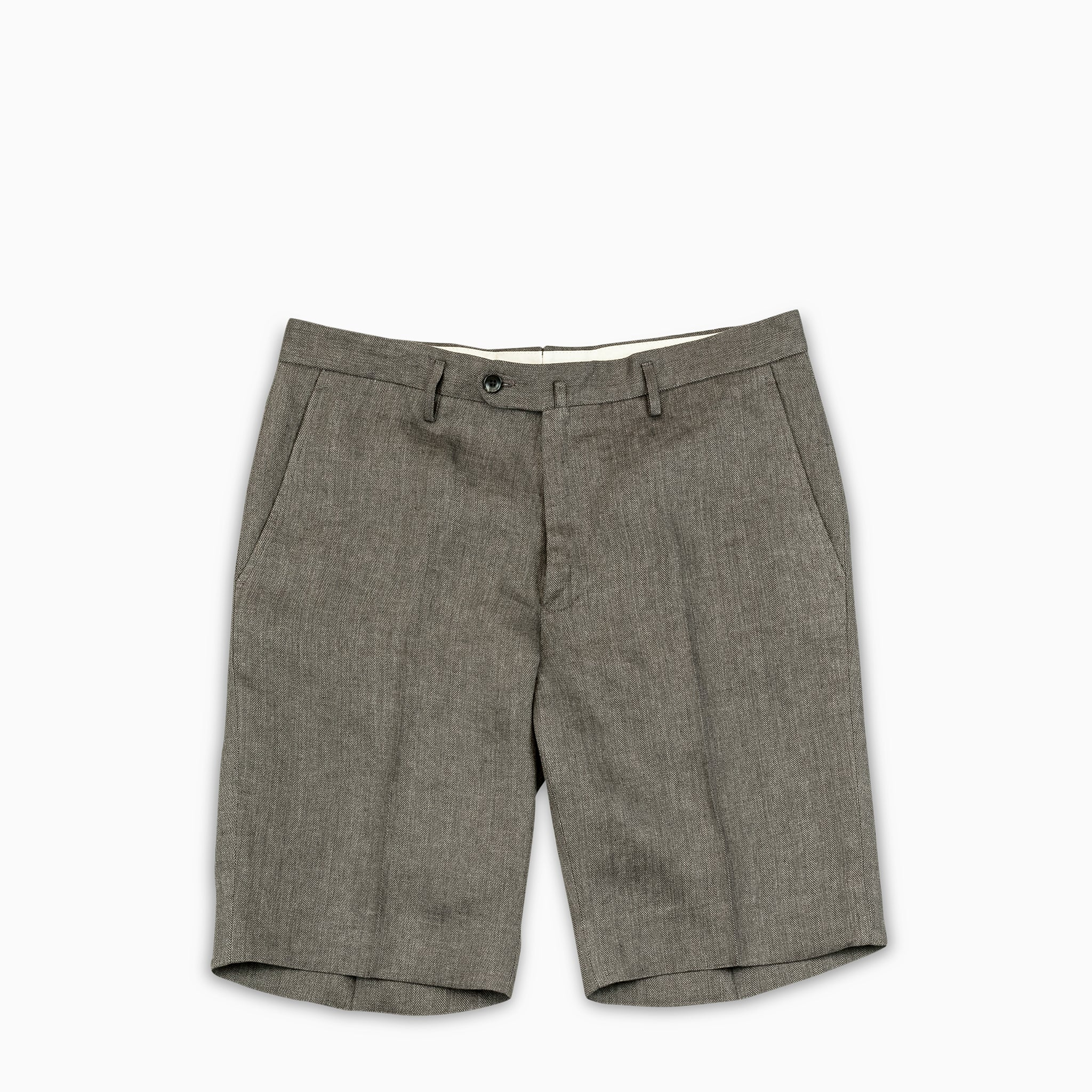 Bazile bermuda shorts in herringbone linen (mountain brown)