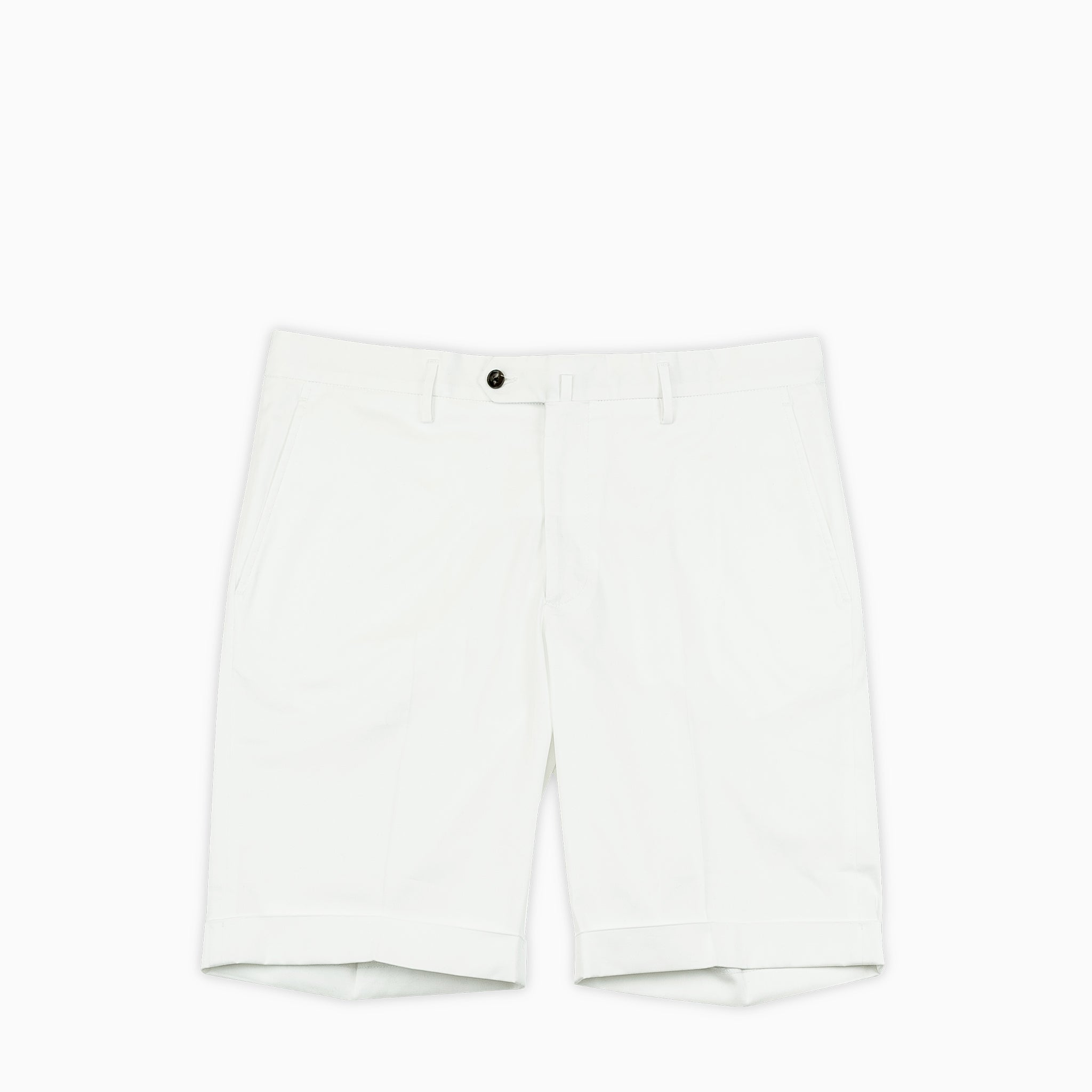 Bazile folded bermuda shorts in stretch gabardine cotton (ice white)