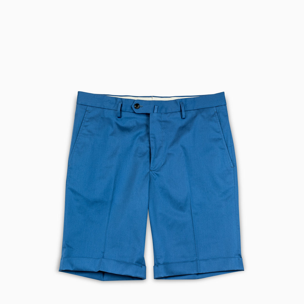 Bazile folded bermuda shorts in stretch gabardine cotton (river blue)