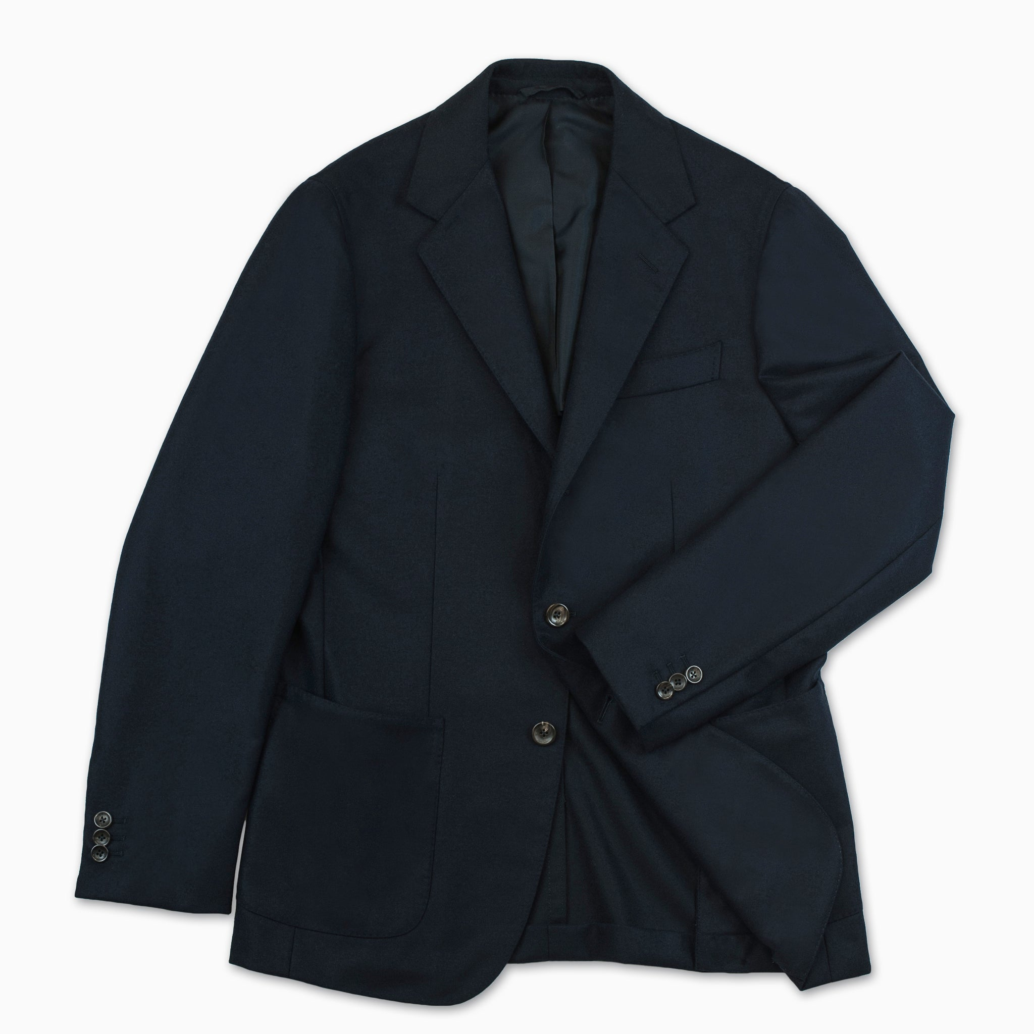 Blasi blazer solid flannel wool (Dark Blue)