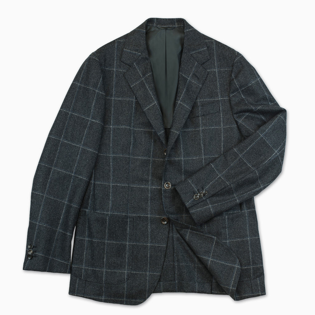 Blasi blazer solid flannel check (Dark Grey)