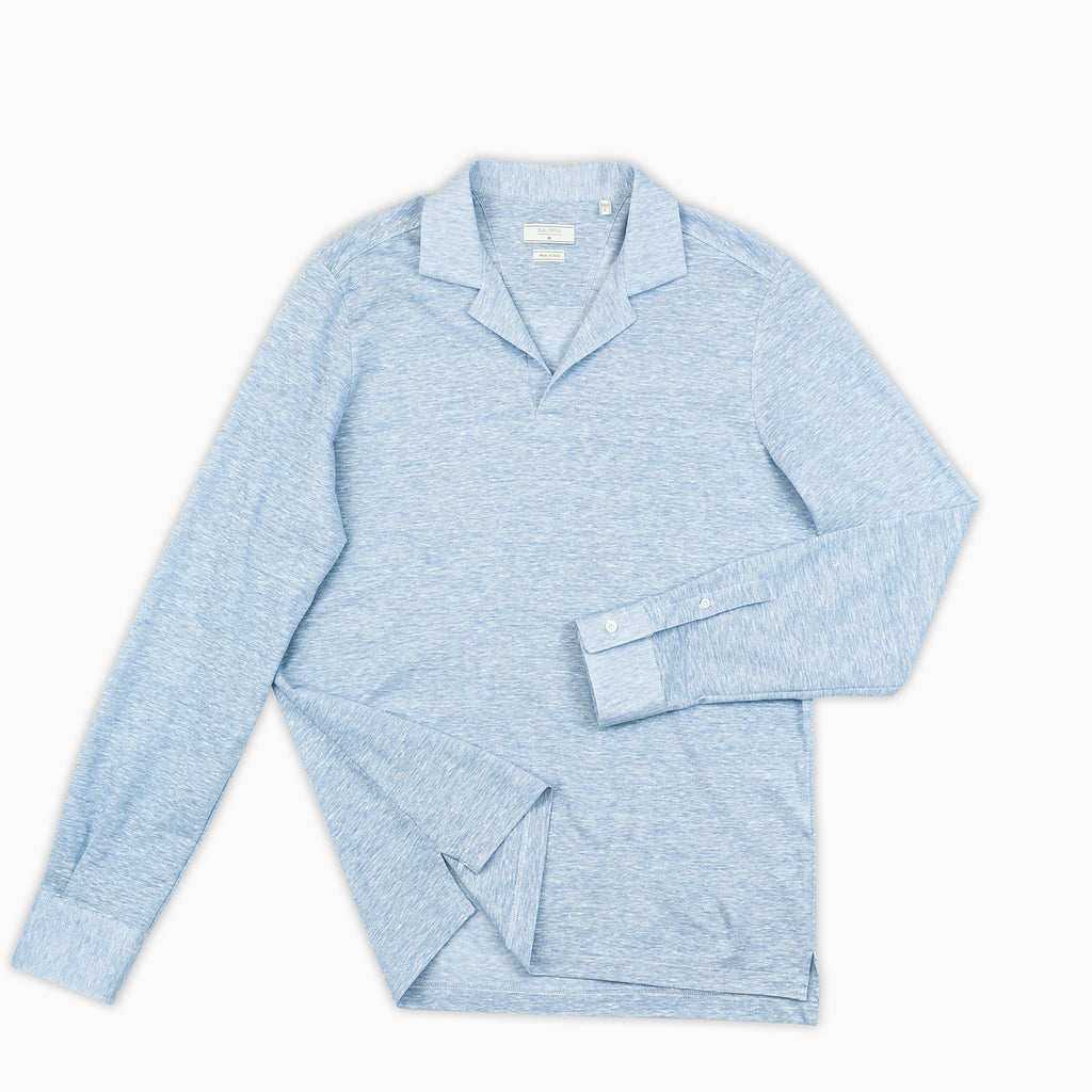 Calist long-sleeved polo in linen and cotton pique (sky blue)