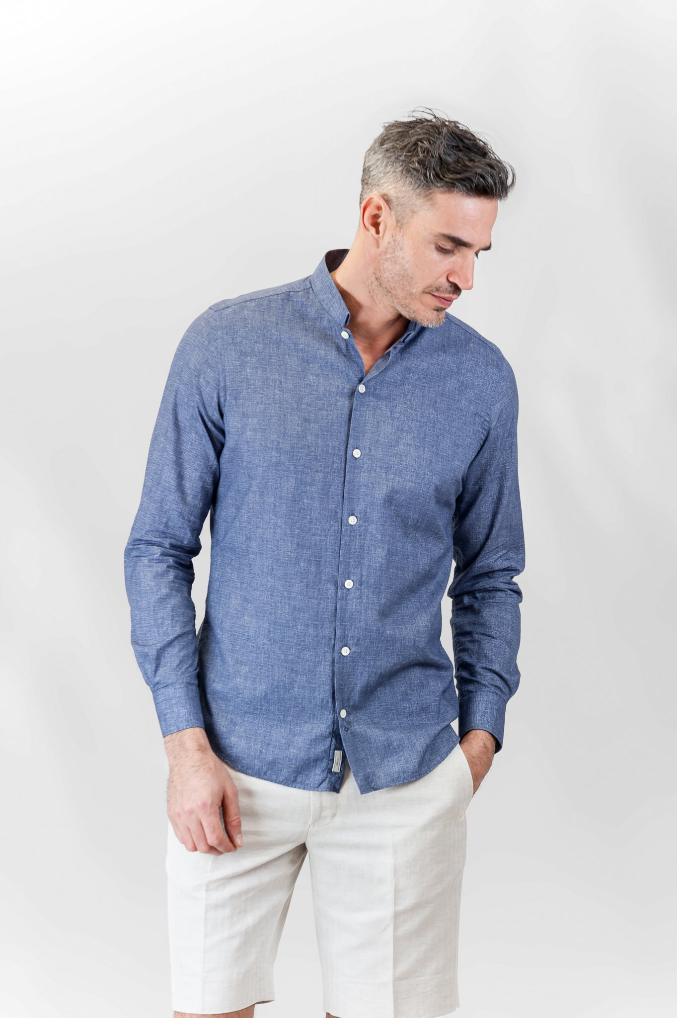 Conrad Cotton Print shirt (ocean blue)