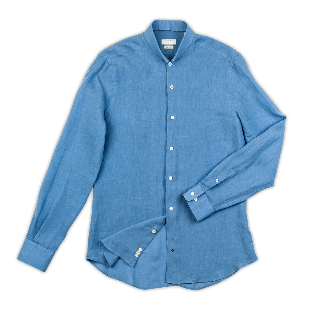 Conrad golden linen shirt (river blue)