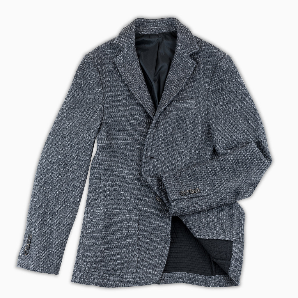 Coustan Structure Tech Knit Wool Blazer (dark grey melange)