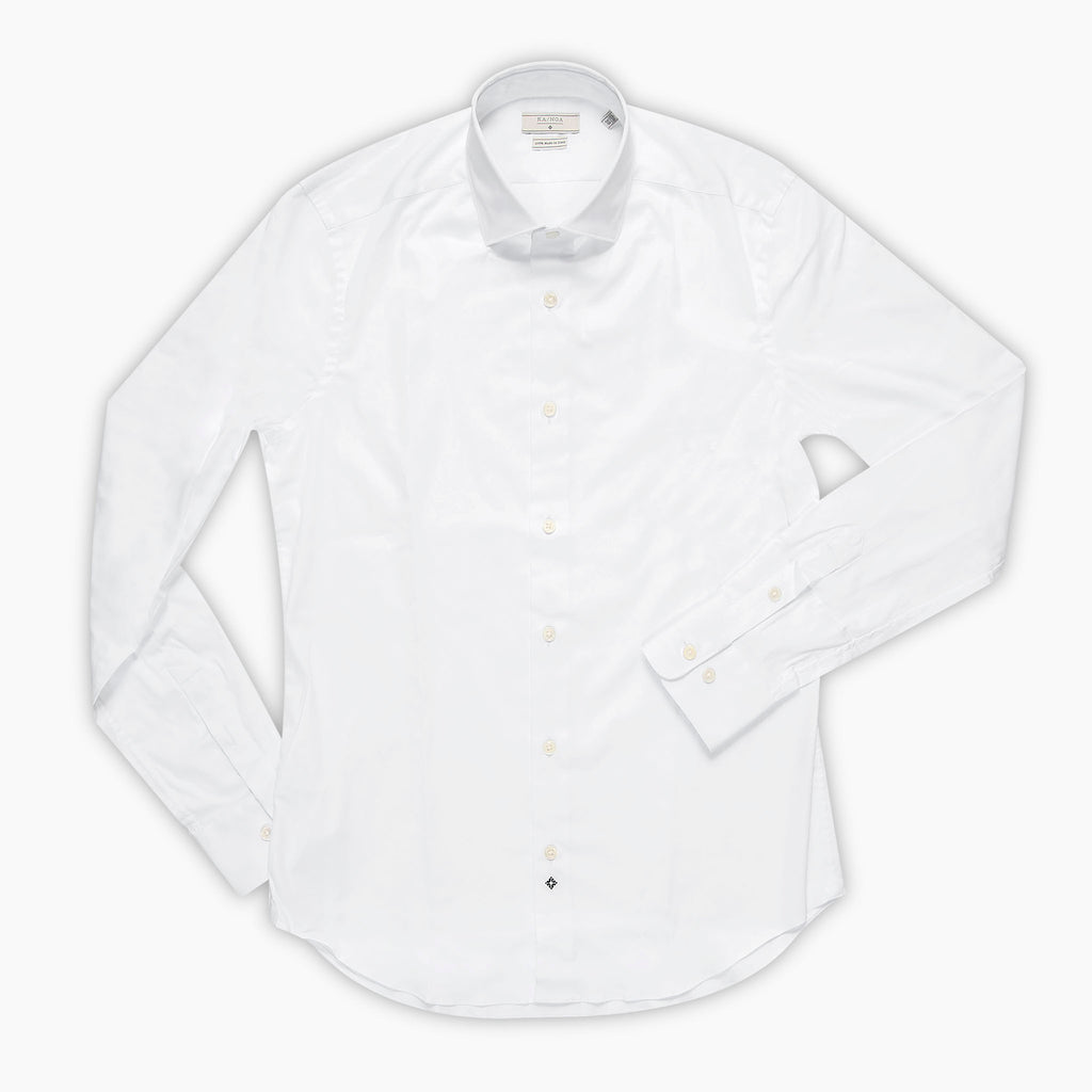 Clamenc shirt satin stretch (ice white)