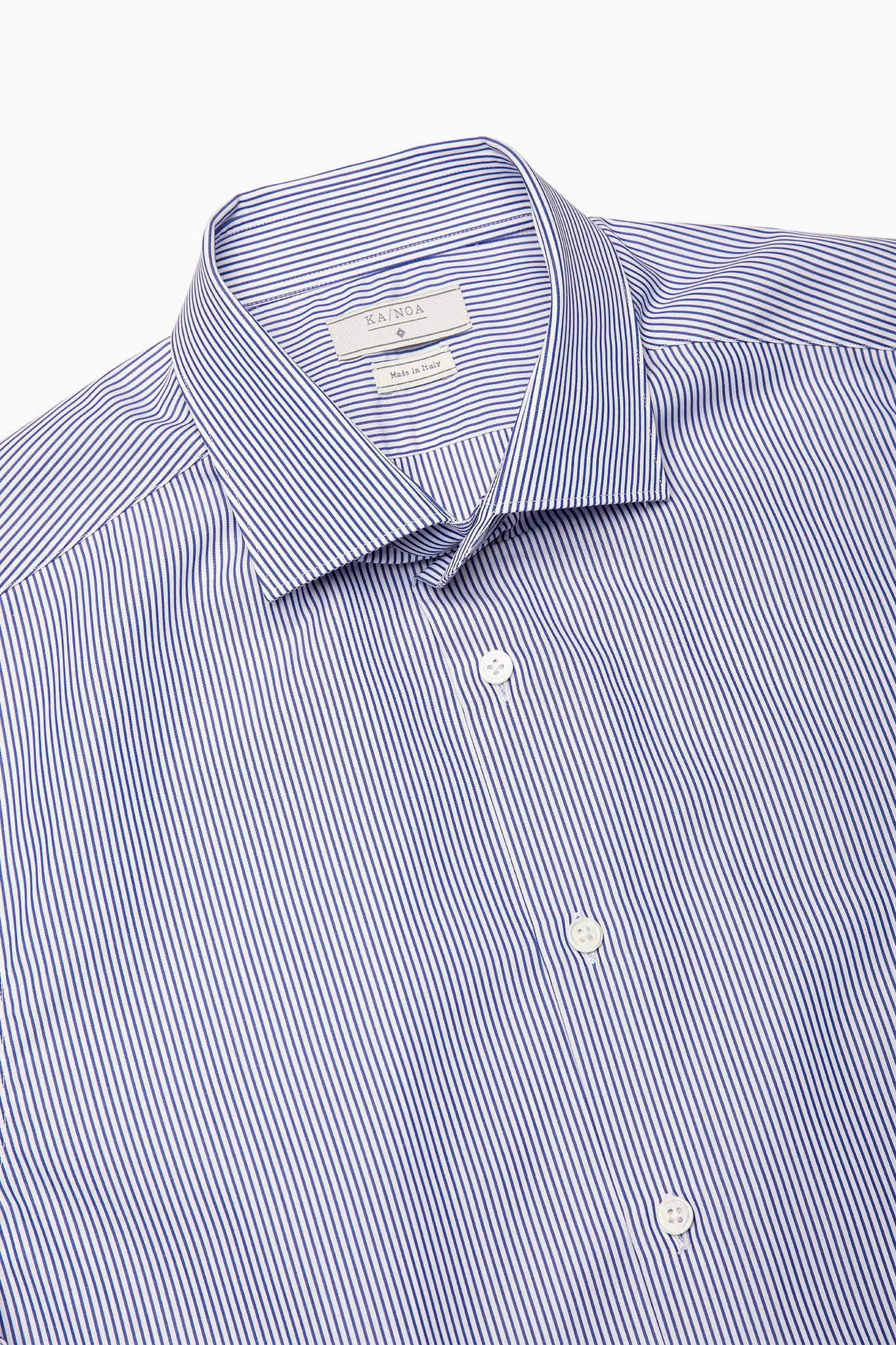 Clamenc All day long-sleeved shirt in Journey (dark blue stripe piquet)