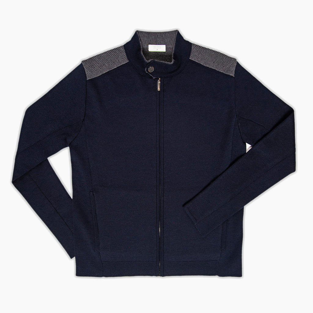 Colà Knitted full zip jumper punto Milano (two tones)
